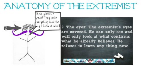 The extremist's eyes